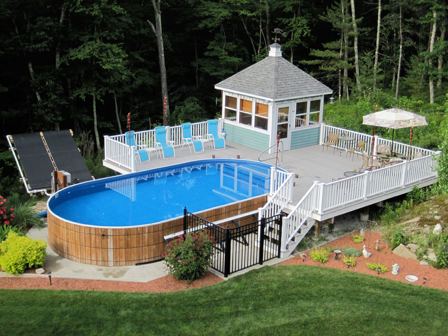 Hidden water pool cost vs above ground pool cost for Deck from house to above ground pool